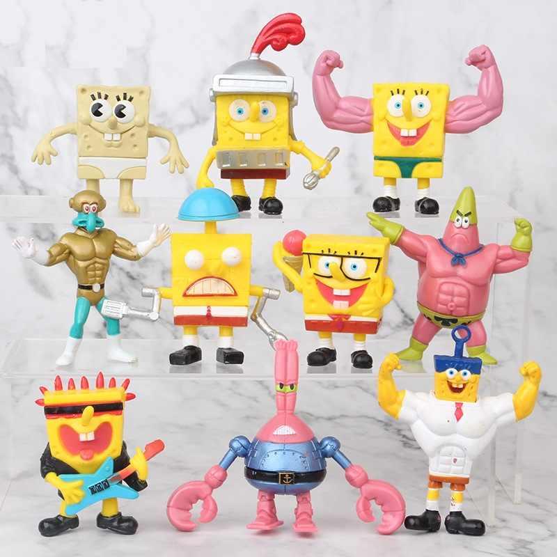 8pcs//set Spongebob series Lovely Action Figure PVC Model doll decoration Toy