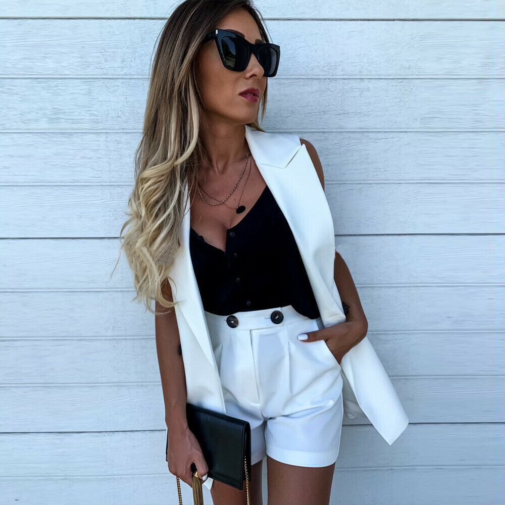 2019 Fashion Two-Piece Shorts And Sleeveless Coat Women Sets Pocket Button Set Female Blazer Vest Coat White Yellow Blue Suits