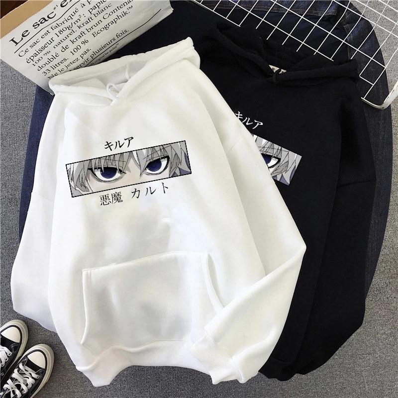 HXH Hunter X Hunter Hisoka Kurapika Hoodies Men Killua Zoldyck Devil Eye Sweatshirts Anime Hip Hop Hoody Streetwear Tops Male