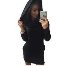 NORMOV Solid Slim dress woman Casual Autumn Winter Long sleeve warm Short paragraph Round neck