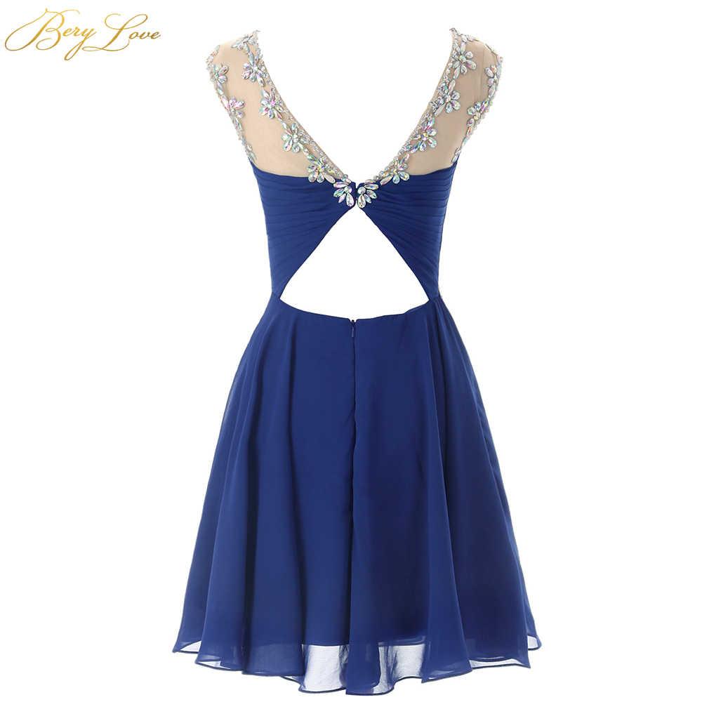 Короткое шифоновое платье для выпускного вечера, королевское голубое мини-платье с вырезом-замочком и бисером, платье для выпускного вечера размера плюс