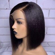 Peluca recta con corte Bob rizado, peluca de cabello humano con encaje frontal, pelo Remy brasileño corto, peluca de encaje prearrancada para mujeres negras, nudos blanqueados
