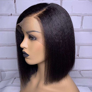 Image 1 - Peluca recta con corte Bob rizado, peluca de cabello humano con encaje frontal, pelo Remy brasileño corto, peluca de encaje prearrancada para mujeres negras, nudos blanqueados