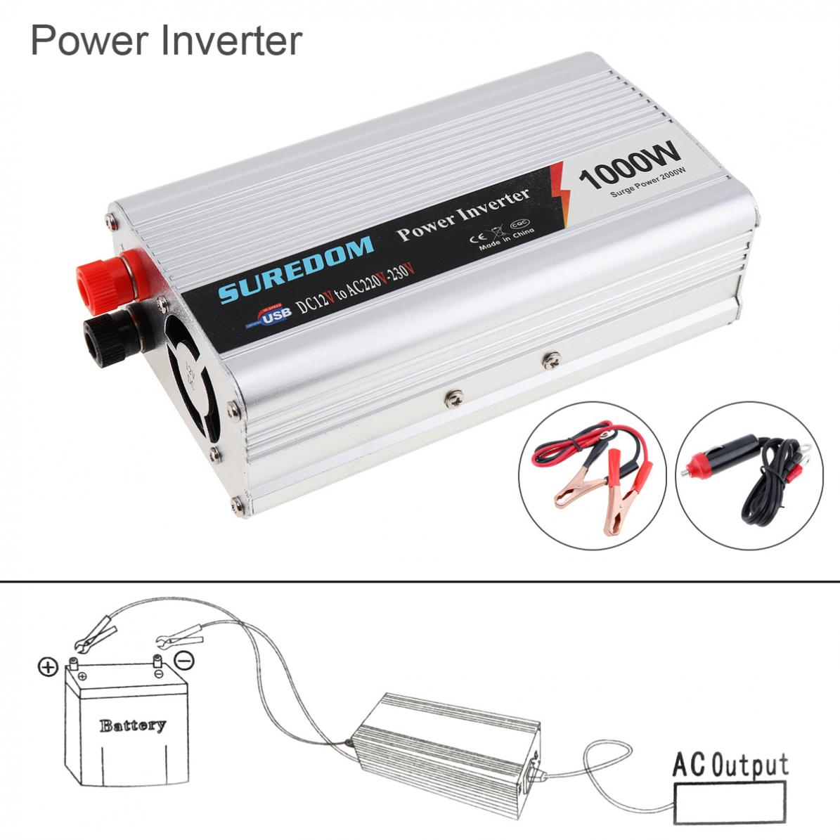 1000W DC 12V <font><b>24V</b></font> to AC <font><b>220V</b></font> 110V USB Portable Power <font><b>Inverter</b></font> Adapter Charger Universal Voltage Converter Surge Power <font><b>2000W</b></font> New image