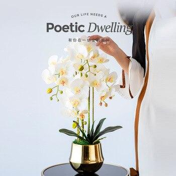 Artificial Flower Bonsai Simulated Phalaenopsis Set Arrangement Indoor Atmosphere Decorative Artificial Flower