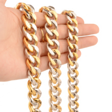 9/11/13/15MM CUT Silver Gold Color Heavy 316L Stainless Steel Curb Cuban Link Chain Miami Necklaces for Men Jewelry
