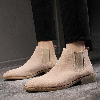 Estilo coreano ocio de los hombres botas chelsea de piel de cuero...