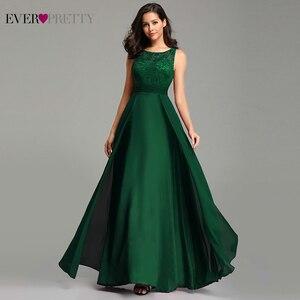 Image 3 - 우아한 댄스 파티 드레스 긴 2020 에버 예쁜 EZ07695 여성의 섹시한 라인 민소매 o 넥 쉬폰 레이스 저렴한 저녁 파티 가운
