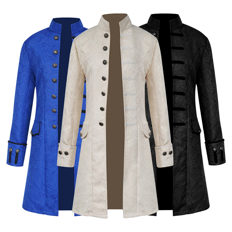 Men's Steampunk Jacket Coats Male Steampunk Outwears Long Sleeves Victorian Coat Tops Men's Vintage Long Trench Jumper Coat 2019