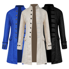Mens Steampunk Jacket Coats Male Outwears Long Sleeves Victorian Coat Tops Vintage Trench Jumper 2019