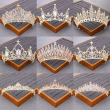 Luxurious Bridal Crowns and Tiaras Wedding Bridal Hair Accessories Gold Tiara Crystal Rhinestone Wedding Crown Diadem Headpiece недорого
