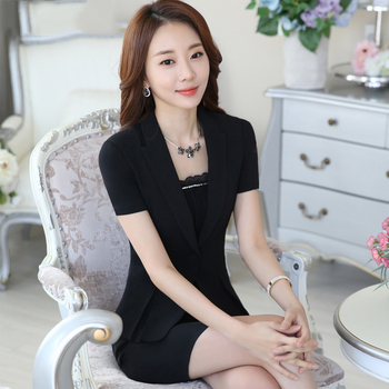 2020 Summer Thin Professional Small Suit Jacket Women Short-Sleeved Slim Suit Skirt Hotel Formal Office Uniforms Skirt Suit Set brieuces spring and summer women s beaded small suit slim suit jacket short women s shirt fashion long sleeved jacket