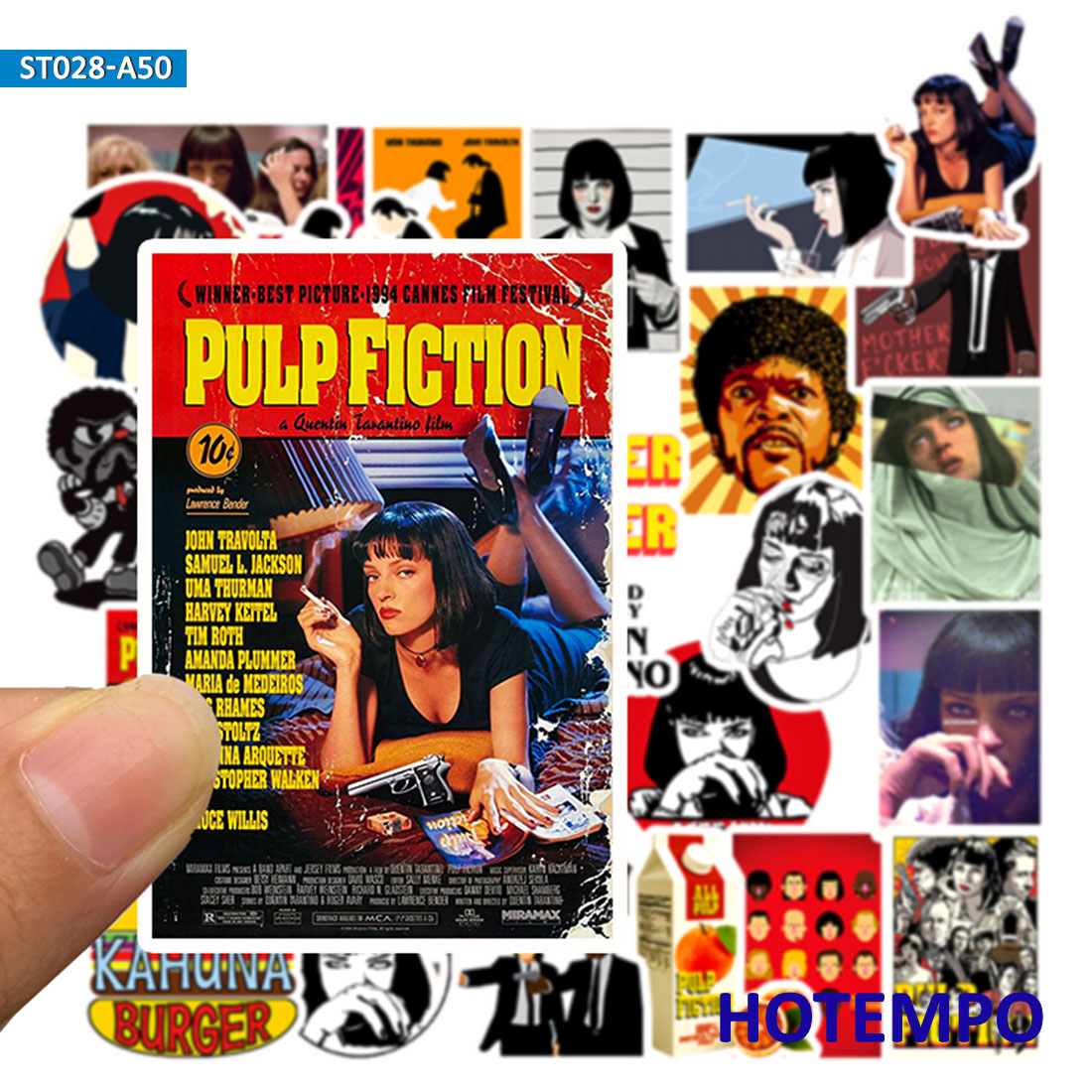 50pcs Classic Movie Pulp Fiction Poster Stickers For Mobile Phone Laptop Luggage Suitcase Guitar Skateboard Decal Stickers