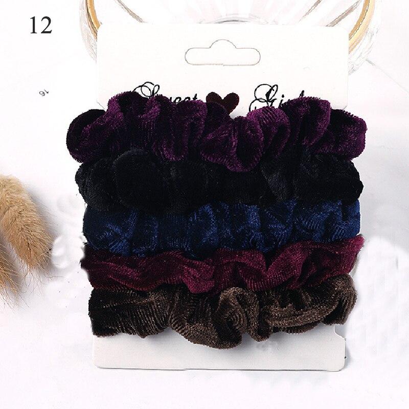 1 комплект резинки для волос кольцо для волос карамельного цвета Веревка для волос осень-зима женский хвостик аксессуары для волос 4-6 шт. ободки для девочек Подарки - Color: New 12