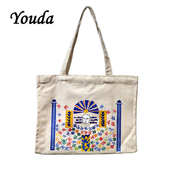 цены Youda Fashion Lady Shoulder Bag Canvas Bags Personality Pattern Printing Handbag Female Cartoon Large Capacity Shopping Tote