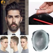 Mikro ince deri 0.02 0.03mm peruk erkekler için saç doğa Hairline tüm V ilmekli 6 inç yoğunluğu 90 hint insan saçı protez