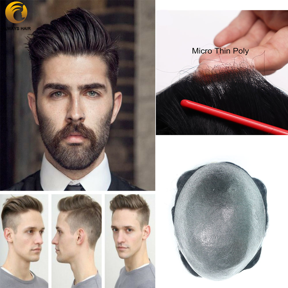 Mircro Thin Skin 0.02-0.03mm Wig for Men Hair Nature Hairline All Over V-Looped 6 inch Density <font><b>90</b></font> Indian Human Hair Prosthesis image
