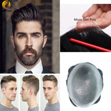 Mircro Thin Skin 0.02 0.03mm Wig for Men Hair Nature Hairline All Over V Looped  6 inch Density 90 Indian Human Hair Prosthesis