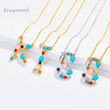 Multicolor 26 Alphabet Gold Necklace Micro Pave Zircon Initial Letter Charm Pendant Necklaces Couple Name Jewelry
