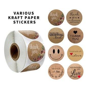 ธรรมชาติขอขอบคุณ Kraft สติกเกอร์ซีล Labes 500 PCS/ROLL Hand Made With Love สติกเกอร์กระดาษ Scrapbooking เครื่องเขียนสติกเกอร์