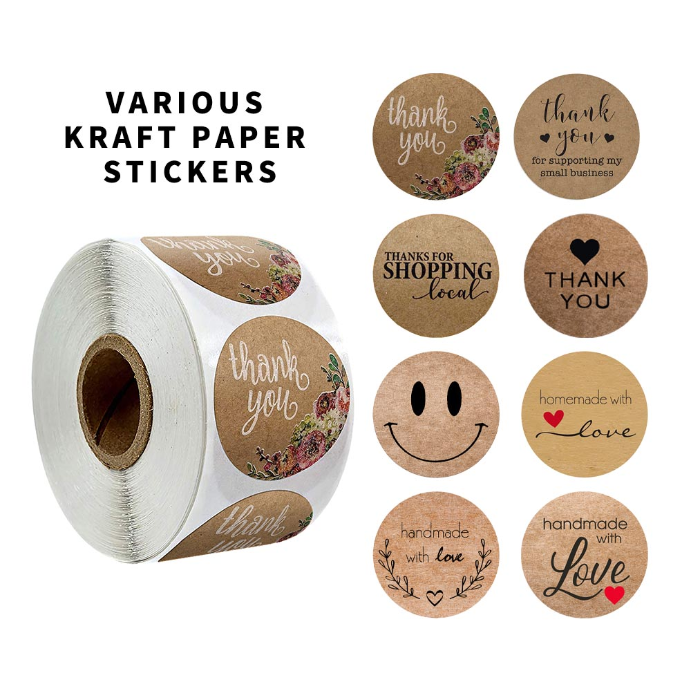 Round Natural Kraft Thank You Sticker Seal Labes 500 Pcs/roll Hand Made With Love Sticker Paper  Scrapbooking Stationery Sticker