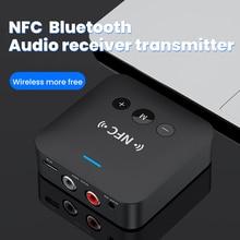 บลูทูธ5.0ตัวรับสัญญาณ RCA เสียง3.5มม.AUX แจ็คเพลงอะแดปเตอร์ไร้สายพร้อมไมโครโฟน NFC สำหรับรถทีวีลำโพง