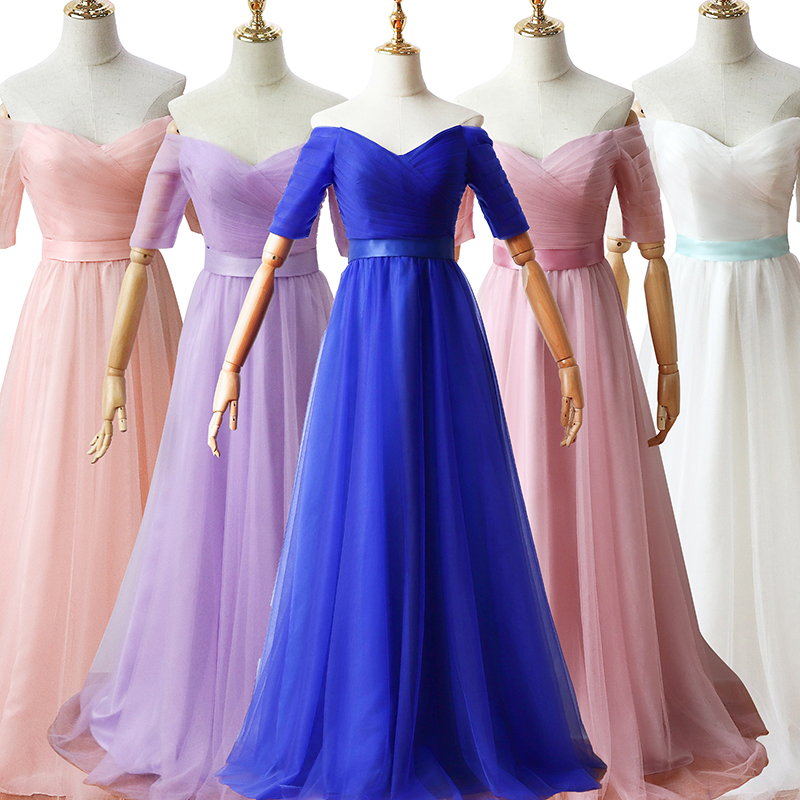 Royal Blue Bridesmaid Dress Wedding Party For Woman Purple Plus Size Tulle Dress V-neck Prom Long Floor Length Black Vestido