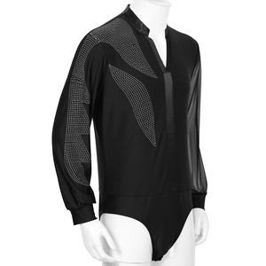 Image 2 - Latin Dance Shirts Mens Shiny Rhinestones Long Sleeve Ballroom Dancing Wear Adult Standard Tops Performance Competition Clothing