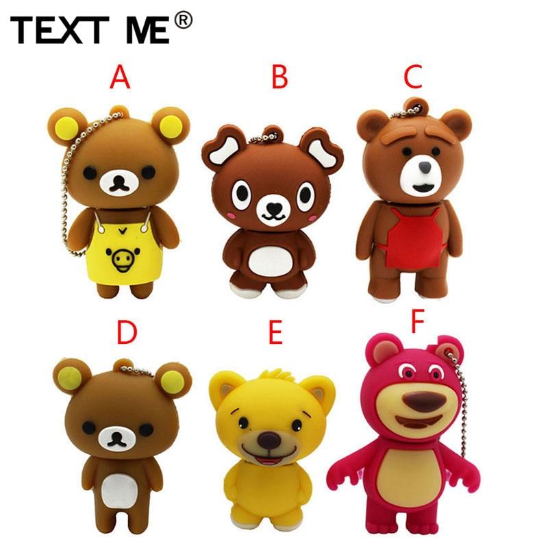 TEXT ME Cute Carton Bear Model Usb Flash Drive  4GB 8GB 16GB 32GB 64GB Pendrive Gift Usb 2.0