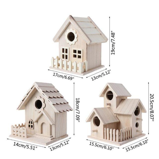 Creative Wooden Bird House Breeding Cage Box Feeding Nest Garden Backyard Balcony Pendant Simulation Fence Birdhouse Home Decora 6