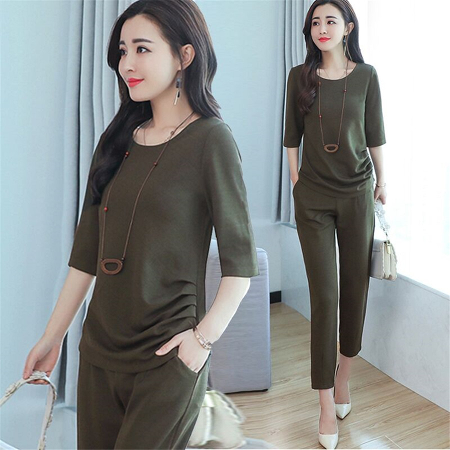 Two Piece Set Women's Summer Tracksuits 2019 Casual 2Pcs Short Sleeve O-neck Tops+Cropped Trousers Ladies Lounge Sports Suits