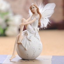European Cute Elf Girls Resin Angel Figurines Office Desk Fairy Statue KTV Bar Ornaments Decor Home Furnishing Decoration Crafts