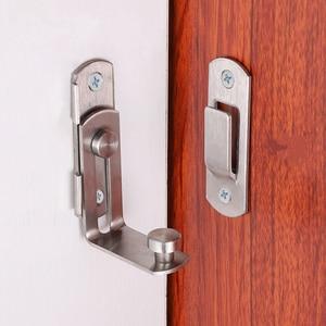 Image 2 - 90 degree stainless steel door latch right angle sliding door lock latch screw locker hardware accessories