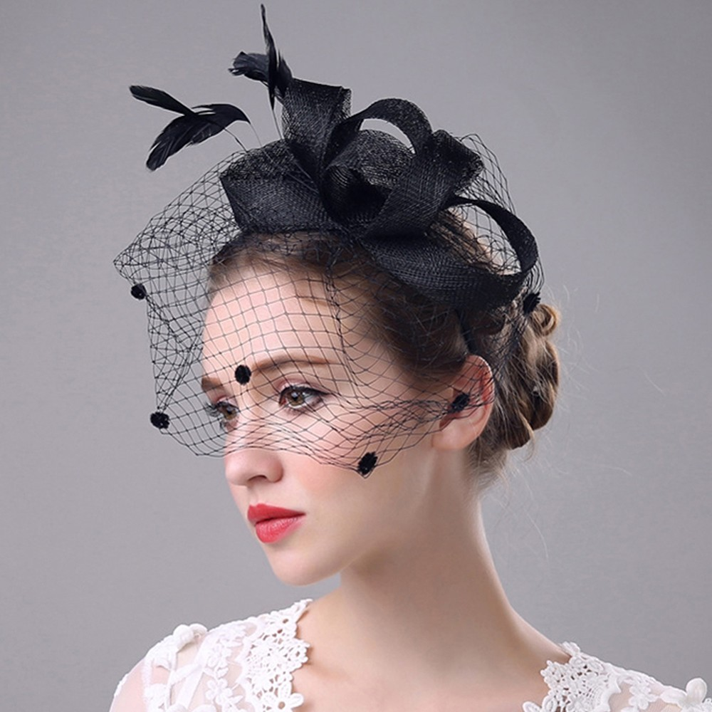 New 2019 Elegant Wedding Party Hat For Women Beautiful Fascinator Mesh Hat Ribbons Feathers Special Party Hat