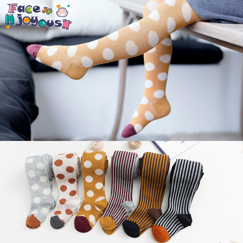 2019 Baby Autumn Winter Tights Baby Toddler Kid Girl Ribbed Stockings Cotton Warm Pantyhose Candy Color Printed Dots Tight