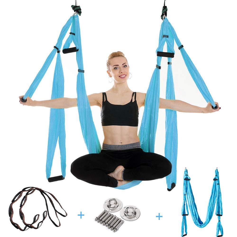 Ensemble de hamac de Yoga aérien outil d'inversion de Yoga trapèze crochets de plafond sangles d'extension mousquetons sac de transport