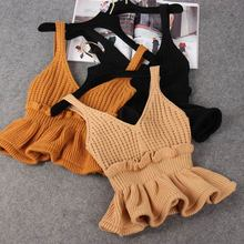 Women's Knitted Ribbed Ruffled Crop Tops V-neck Camis Sleeveless Backless Tunic