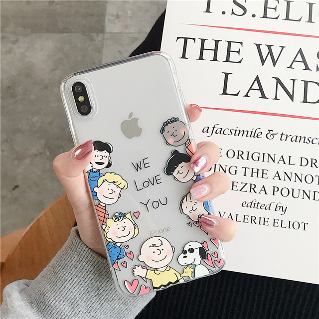 Cute Peanut Comic puppy Cartoon Charlie Brown Lucy couple case