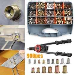 900/1000/1200 Uds. M3-M12 pistolas de remachado conjunto de herramientas de remachado de tuercas metálicas Kits de remaches riveteado Manual Rivet Nutsert inserto Accesorios