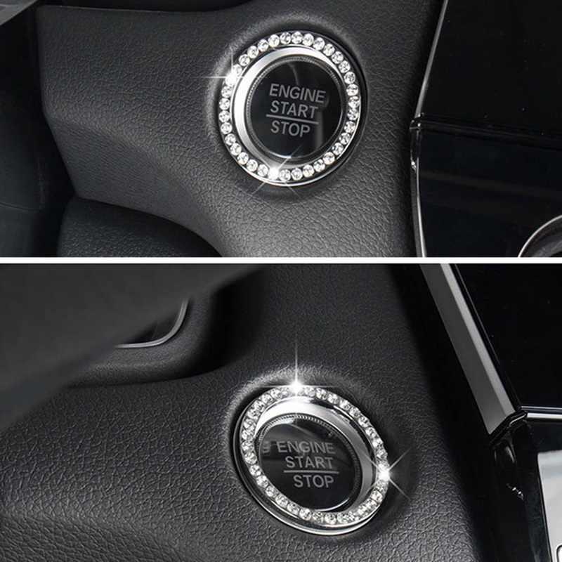 Fournitures de voiture une clé pour démarrer le bouton anneau décoratif fait à la main ensemble de diamants cristal cercle d'allumage autocollants accessoires de voiture