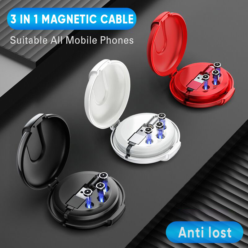 <font><b>3</b></font> <font><b>in</b></font> <font><b>1</b></font> Retractable Micro <font><b>USB</b></font> Type C Magnetic <font><b>Cable</b></font> for iPhone 11 X Fast Charging Data Sync <font><b>USB</b></font> C <font><b>Cable</b></font> for Huawei Xiaomi Samsung image