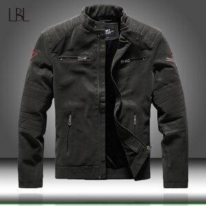 Image 1 - Zimowe męskie kurtki pilotki Casual Military męska odzież wierzchnia polarowa gruba ciepła kurtka wiatrówka męskie Pu skórzane kurtki baseballowe