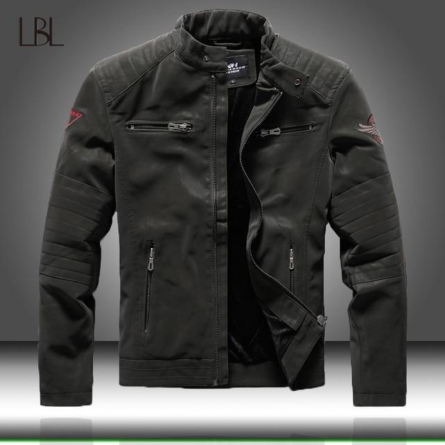 Zimowe męskie kurtki pilotki Casual Military męska odzież wierzchnia polarowa gruba ciepła kurtka wiatrówka męskie Pu skórzane kurtki baseballowe