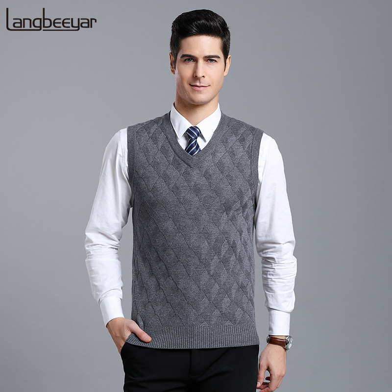 New Fashion Brand Sweaters Men Pullover V Neck Slim Fit  Jumpers Knitwear Vest Sleeveless Winter Jacquard Casual Mens Clothes
