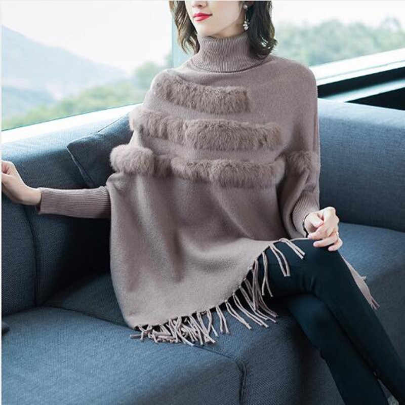 2019 New Sweater lazy wind rabbit fur high Collar tassel core yarn Sweater female cloak jacket ladies fashion Sweater 26108