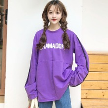 Neutral long-sleeved Streetwea Letter Print Purple T-shirt Women Autumn Fashion Clothes Ladies Long Sleeve Oversize Tee