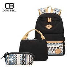 Canvas 3pcs/Set Women Backpack With Purses And Lunch Handbags Girls Waterproof School Backpack Bags For Girls Travel Backpack casual women s backpack with canvas and printed design