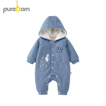 Pureborn Newborn Unisex Baby Jumpsuit Quilted Cotton Lined Baby Romper Long Sleeve Thick Winter Baby Winter Clothes Outerwear