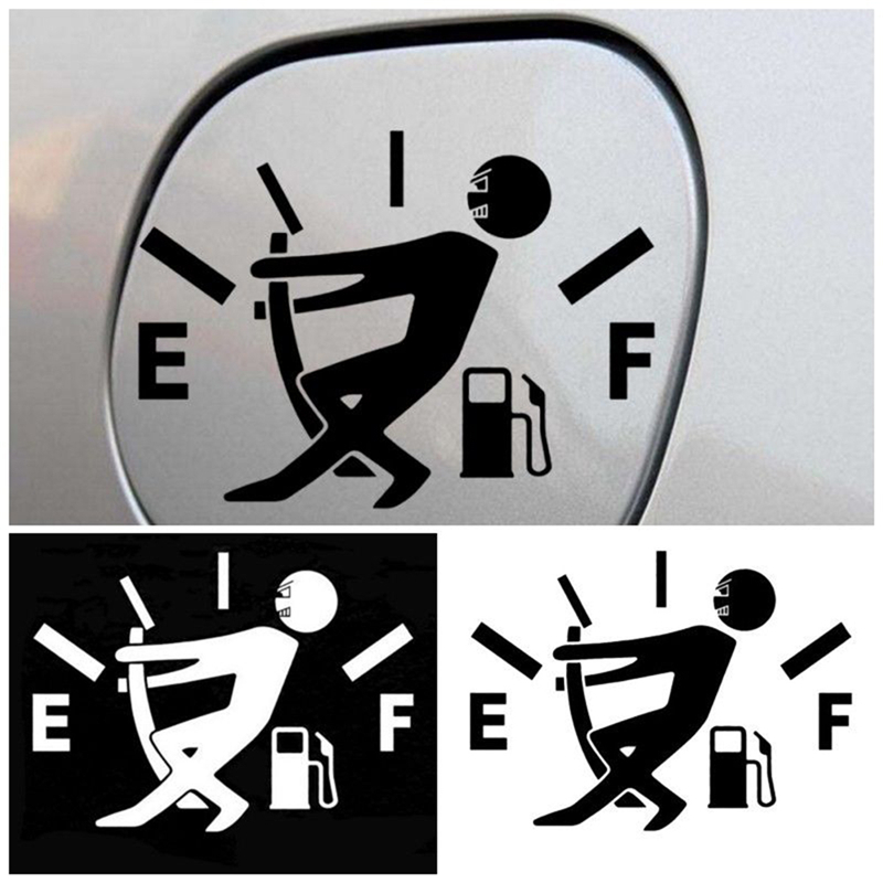 1PCS Funny Car Sticker Pull Fuel Tank Pointer To Full Hellaflush Reflective Vinyl Car Sticker Decal Auto Car Styling Wholesale
