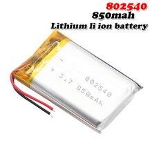 3.7V 850mAh 802540 082540 litowo-polimerowe akumulatory do GPS MP3 MP4 RC drone świecący głośnik LED li-ion Li po cell